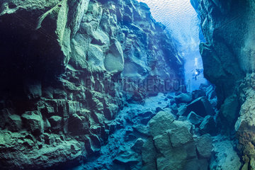 Diver explores the cathedral at Silfra fissure  deep fault filled with fresh water in the rift valley between the Eurasian and American tectonic plates. Silfra fissure is actually a crack between the North American and Eurasian continents that drift apart about 2cm per year. Thingvellir National Park  Iceland.