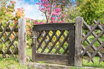 Wooden gate in a garden