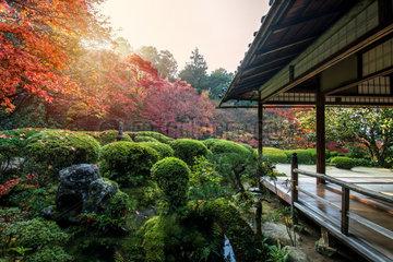 Coucher de soleil au temple Shisendo à Kyoto  Japan