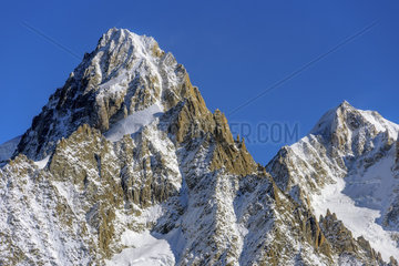 The Aiguille d'Argentiere in autumn from the Cheserys  in the Aiguilles Rouges mountain range  Haute Savoie  Mont Blanc Massif  Alps  France