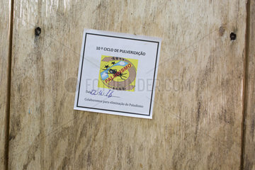 Anti-malaria spraying signaling label  Santana  Sao Tome and Principe Island