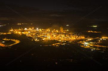 Doniambo SLN Nickel Plant at night  Noumea  Southern Province  New Caledonia