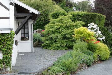 Garden landscaping in spring - Belgian Ardennes