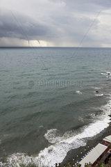 Twin marine twisters off the Gulf of Genoa  Mediterranean sea