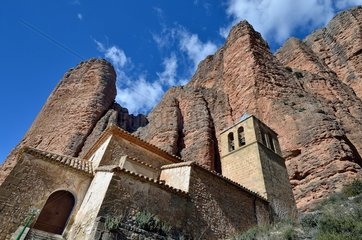 Church and Mallos de Riglos  Pyrenees  Aragon  Spain