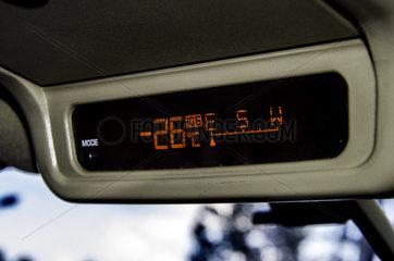 Car thermometer indicating outdoor temperature at the surface of Lake Baikal  Siberia  Russia