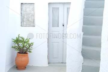 House with typical Cycladic architecture on the island of Santorini of the troglodytic type built on the volcanic cliff (caldera or caldera). Firostefani  Greece