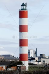 The new lighthouse of Berck located at the mouth of the bay of Authie  on the tip of Haut-Banc  in the dunes  Hauts-de-France