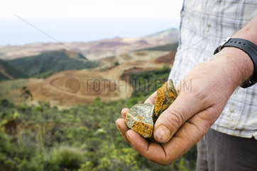 Scientist holding Garnierite (Nickel ore) in his hand. Study of the impact of the exploitation of Nickel. Kouaoua  Northern Province  New Caledonia