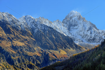 The Aiguille d'Argentiere in autumn from the Chamonix Valley  Mont Blanc Massif  Haute Savoie  Alps  France
