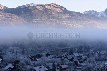 Frost at sunrise on Morillon  Giffre Valley  Haute-Savoie  Alps  France