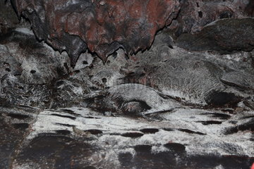 Cave of volcanic lava. Island of Pico. Azores. Portugal