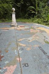 Line of the equator passing on the island das Rolas  Porto Alegre Commune  Island of Rolas  Sao Tome and Principe Island