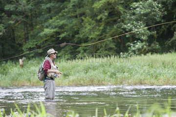 Fly fishing on the Doubs  French-Swiss Border  Refrain  Doubs  Franche-Comte  France