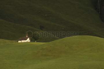 Chapel in the Friborg pre-Alps  above Charmey  Switzerland