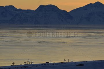 Kap Hope (Igterajivit) cemetery  the Scoresbysund in the background  febraury 2016  Greenland
