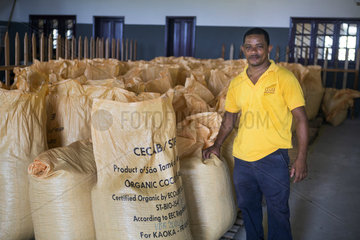 Portrait of Aureliano Pires  Chairman of the Board of Directors of CECAB  Drying and Bagging Center  Organic Cocoa Production and Export Cooperative  Fair Trade  Guadalupel  Sao Tome and Principe Island