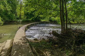 Stone walkway on Armancon river - Burgundy France