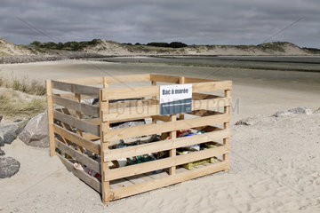 'Tide tray' where the objects found on the littoral in Authie Bay are dropped  Berck-Sur-Mer  Nord-Pas-de-Calais  France