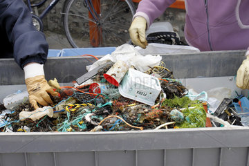Sorting after collection of waste on the beach organized by A.N.C.G (National Association of Runners of Strikes) in Veules les Roses  Normandy  France