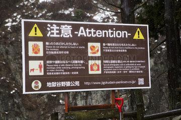 Snow Monkey Park Prevention Panel  Joshinetsu Kogen  Japan