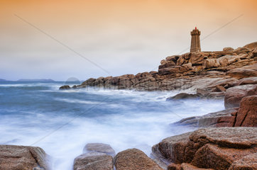 Ploumanach Lighthouse at dawn - Cote de Granit Rose Brittany