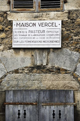 Maison Vercel  plaque Ici Louis Pasteur etc  in Arbois  Jura  France