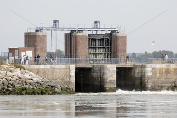 Lock of the basin of the hunts in Baie de Somme in Crotoy  Picardy  France
