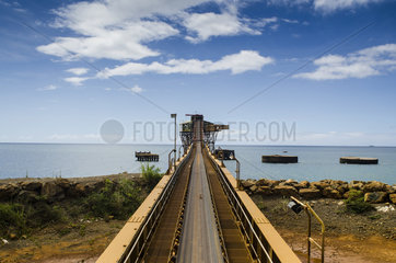Conveyor (conveyor belt) conveying the ore to the sea to be loaded onto the mineral ship. Thio  South Province  New Caledonia
