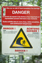 Water warning sign on a canyoning course  Seebach Sewen  Doller Valley  Alsace  France