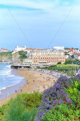Biarritz beach and the Palace in the background  Basque coast  France