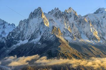 Les Aiguilles de Chamonix in autumn from Les Cheserys  in the Aiguilles Rouges mountain range  Haute Savoie  Mont Blanc Massif  Alps  France