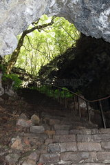 Speleological tourism  Cave of volcanic lava. Island of Pico. Azores. Portugal