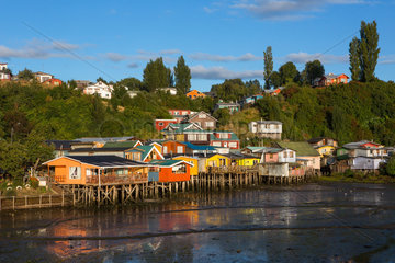 Colorful houses on stilts - Castro Chiloe Island Chile