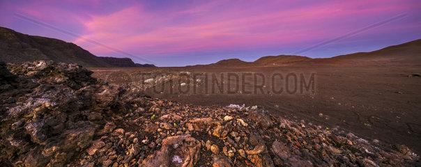 Volcanic scoria of the Plaine des Sables at dusk  Reunion Island