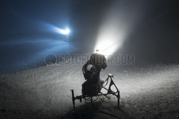 Snow cannons in night  Les Brasses ski ressort  Alpes  France