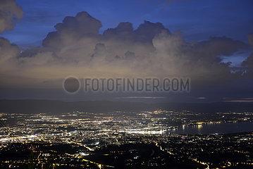 Cumulus congestus pre-stormy on the Jura and panoramic view of Geneva  Switzerland