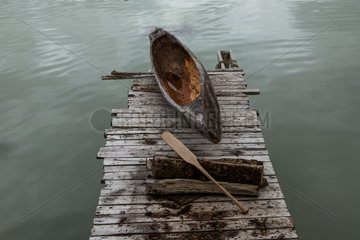 Boat on boardwalk - Patagonia Chile