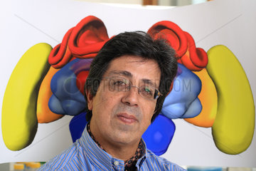 Apidologie - Prof. Martin Guirfa in front of a diagram of a bee's brain. Prof Martin Giurfa's team (CNRS) at the University of Toulouse III - Paul Sabatier has shown that bees were also ?capable of generating then manipulating concepts in order to access a source of food?. What is remarkable  specified the professor  is that they can even use two different concepts to make a decision when faced with a new situation. This work  the CNRS confirms in a communique  brings into question many theories in domains such as animal cognition  human psychology  neurosciences and artificial intelligence .