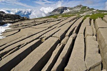Red sandstone slabs La Matolle - Desert Platé Alps France