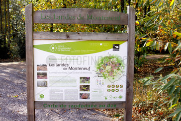 Information panel in the Monteneuf Landes Regional Nature Reserve  Brittany  France
