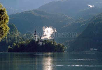Island and church on the lake Bled Slovenia