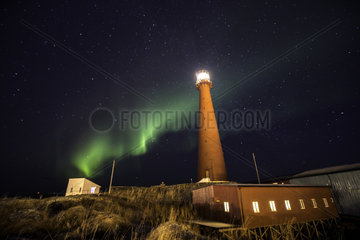 Northern light at Andenes Lighthouse  Andenes  Andøya island  North Atlantic Ocean  Norway.
