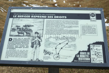 Information panel on the road going up to the Bonette pass  Haute Tinee Valley  Mercantour  Alpes  France