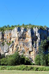 Cliffs forming the Geosite of Causses du Quercy in the commune of Saint Cirq Lapopie  Lot 46  France