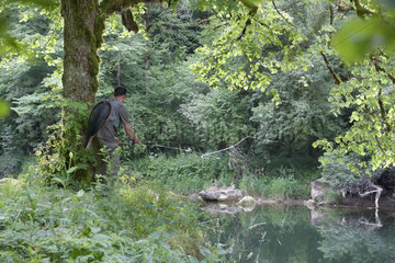 Fly fishing on the Doubs  Doubs  Franche-Comte  France