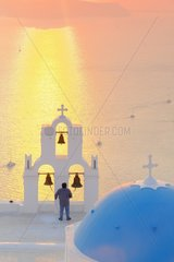 Chapel of Agiou Stylianou at sunset. Bell ring  Cyclades  Santorini  Greece