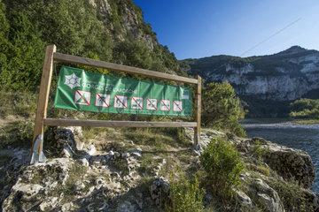 Information panel of the Gorges de l'Ardeche Nature Reserve  France