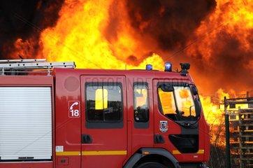 Fire in a warehouse trucks France