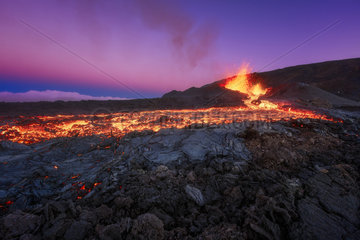 Piton de la Fournaise in activity  Volcano eruption 13 of september 2016  Reunion